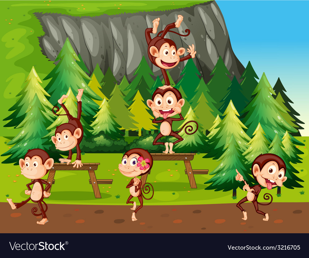 Monkeys and park vector | Price: 1 Credit (USD $1)