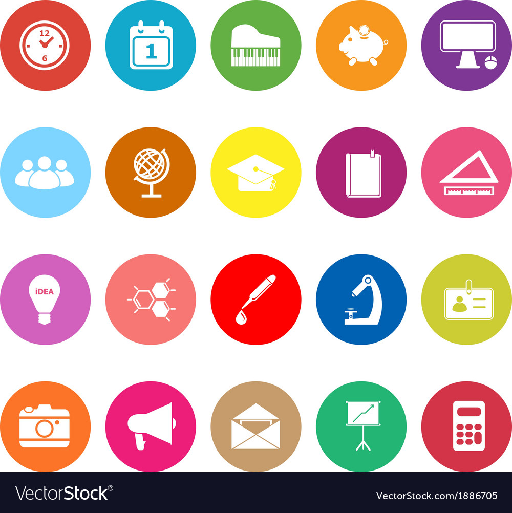 School flat icons on white background vector | Price: 1 Credit (USD $1)