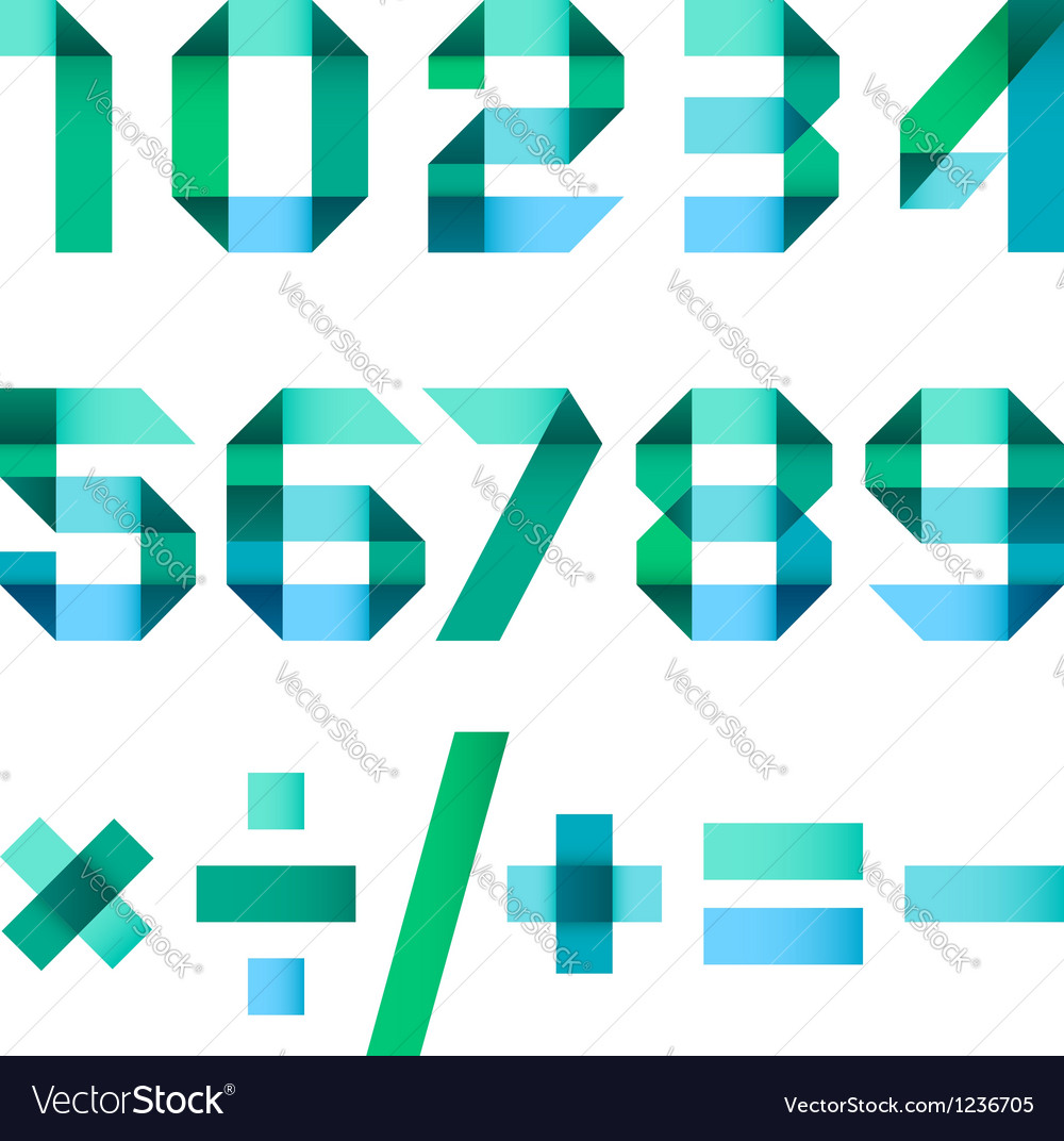 Spectral letters folded of paper - arabic numerals vector | Price: 1 Credit (USD $1)