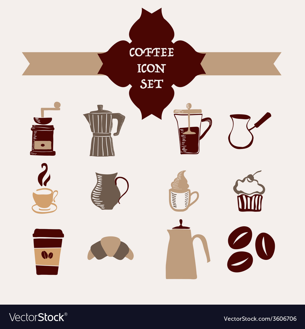 Coffee icons hand-drawing sketch vector | Price: 1 Credit (USD $1)