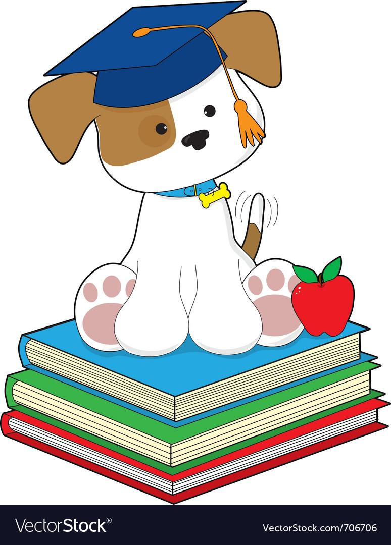 Cute puppy graduate vector | Price: 1 Credit (USD $1)