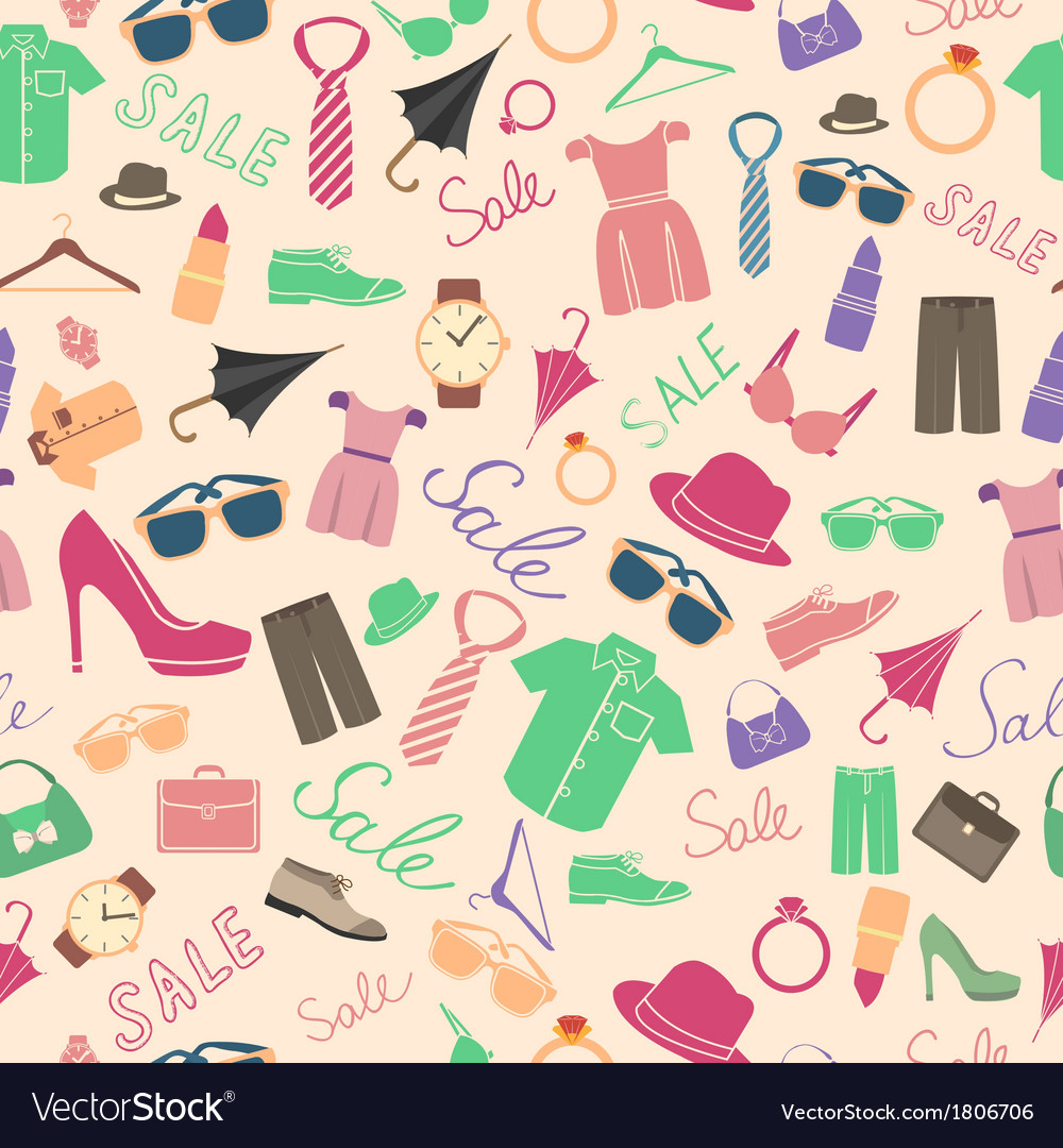 Fashion and clothes accessories seamless pattern vector | Price: 1 Credit (USD $1)