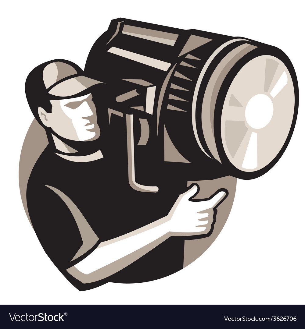 Film crew with spotlight fresnel light vector | Price: 1 Credit (USD $1)