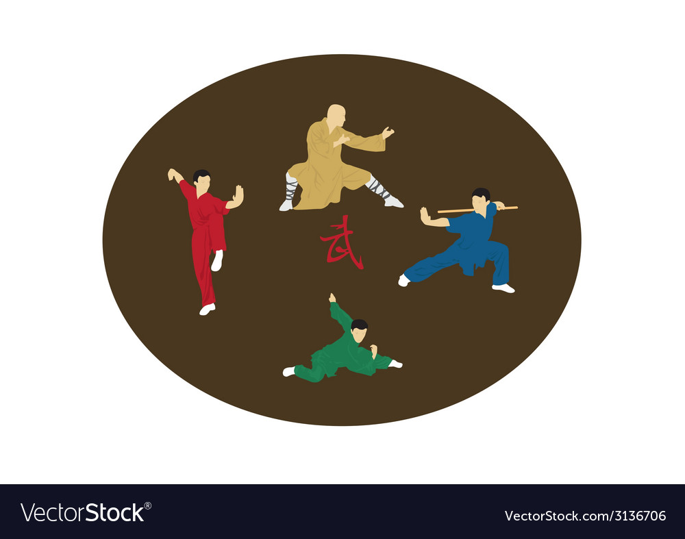 The four men are engaged kung fu vector | Price: 1 Credit (USD $1)