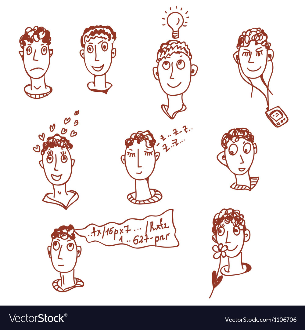 Men characters - funny faces vector | Price: 1 Credit (USD $1)