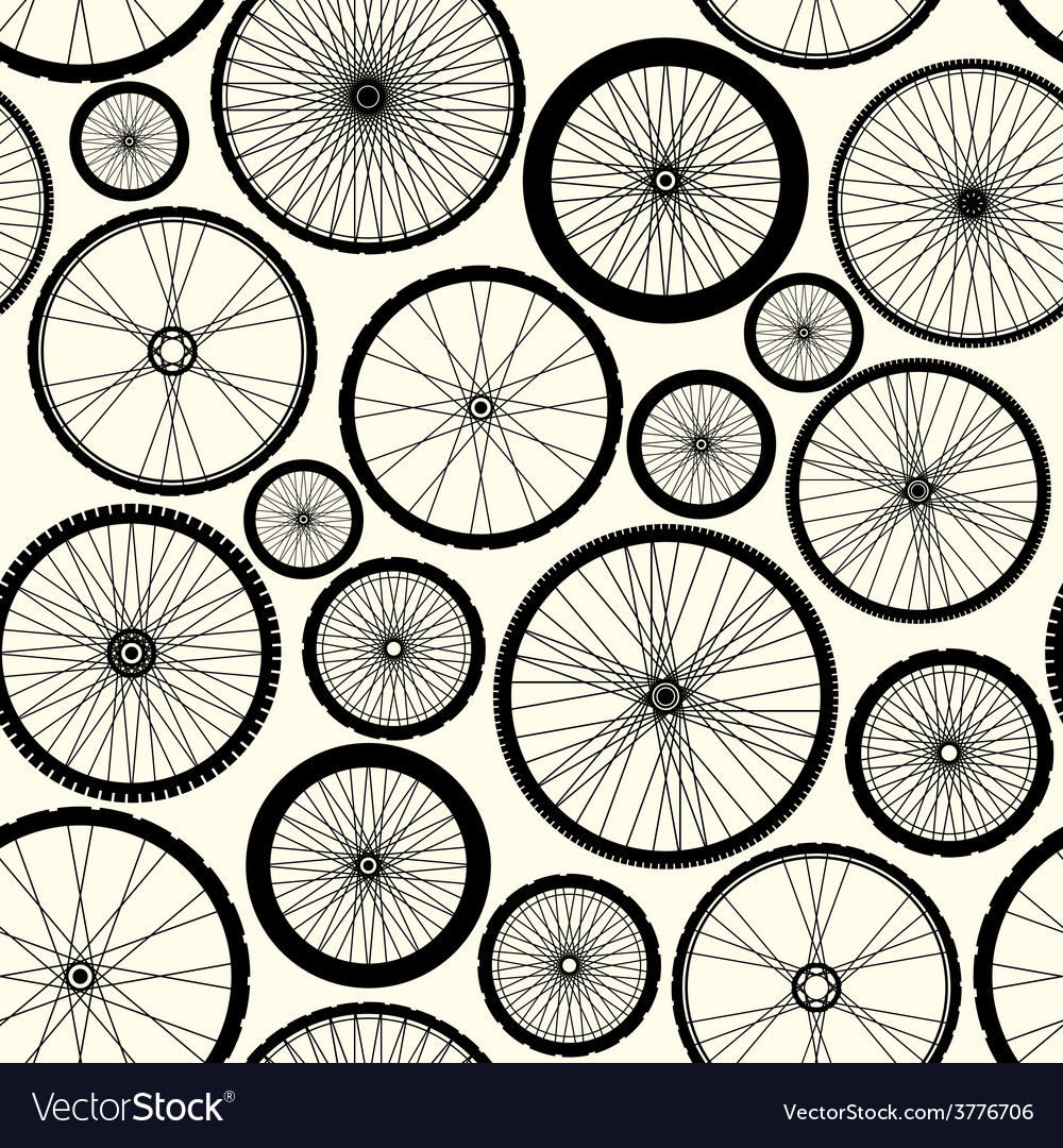 Pattern of bicycle wheels vector
