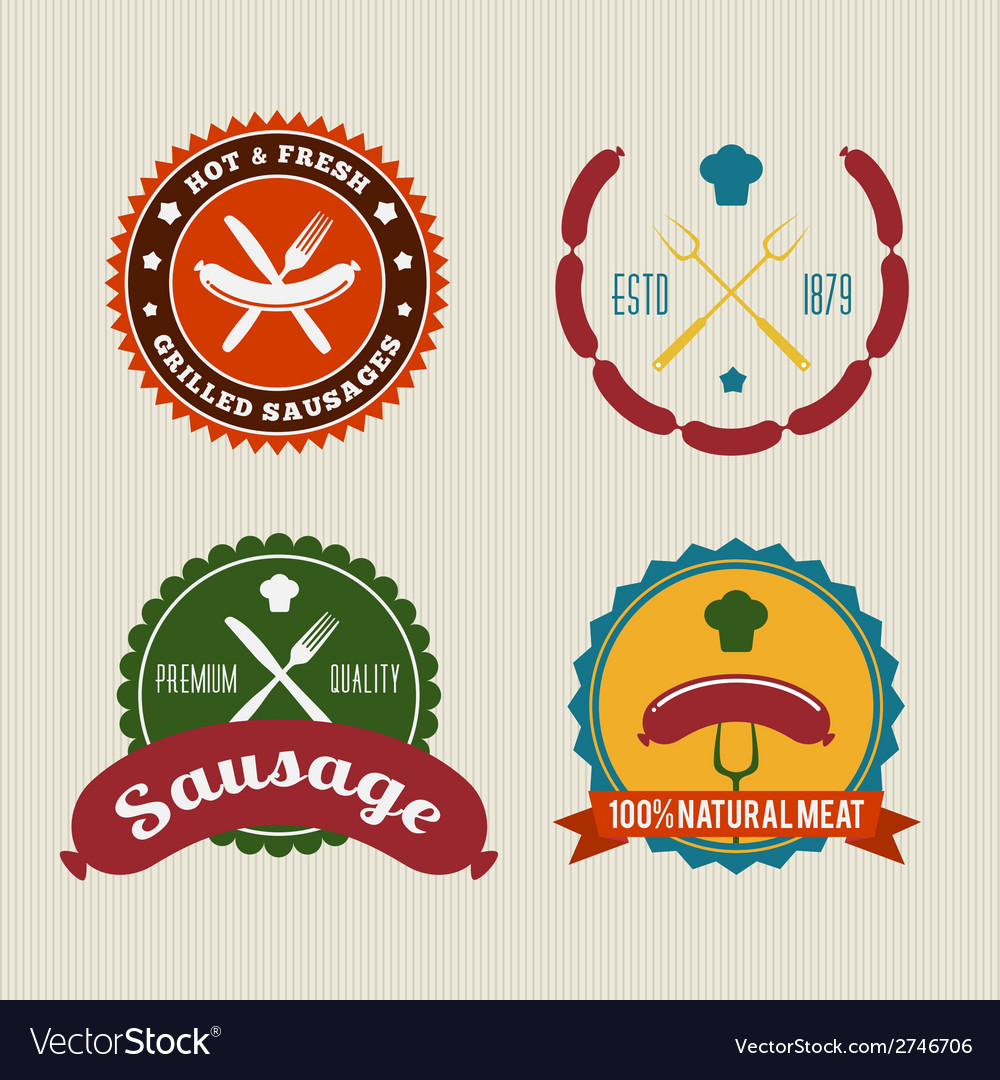 Sausage badges vintage set vector | Price: 1 Credit (USD $1)