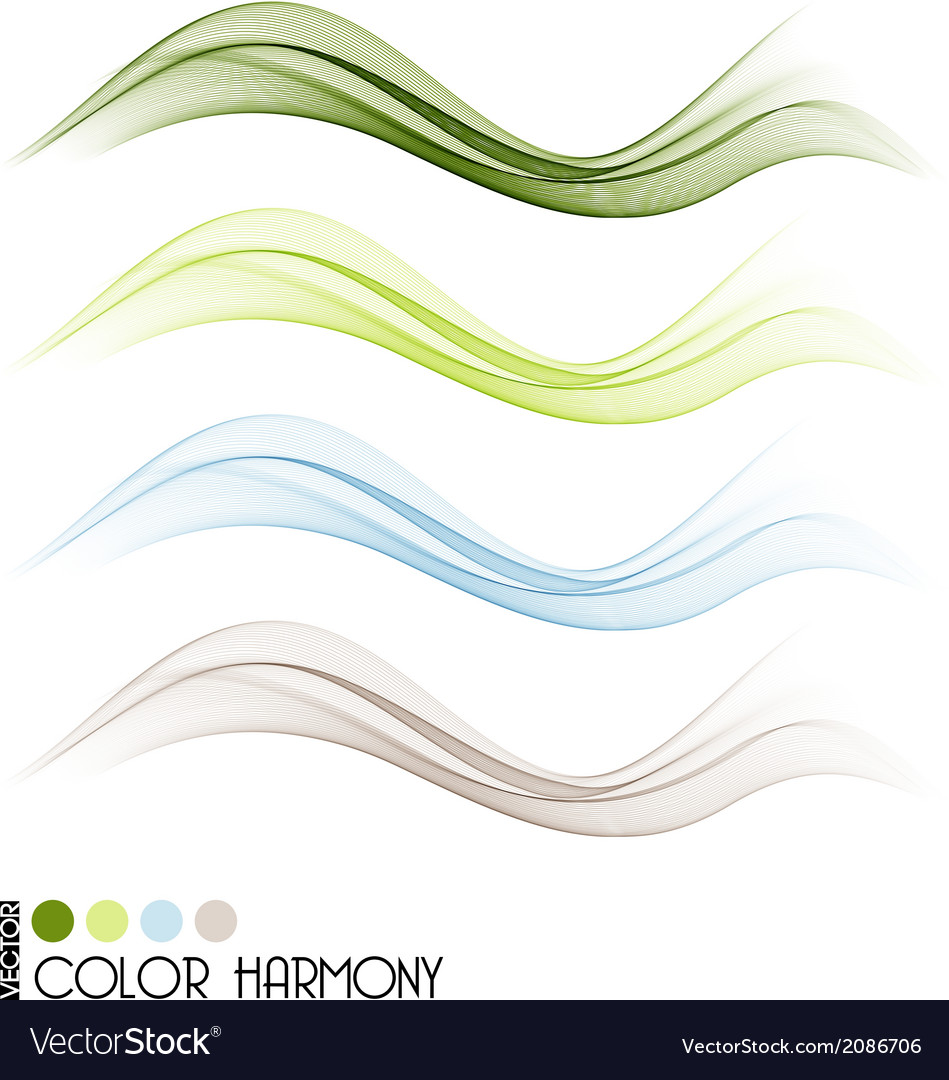 Set of color curve lines vector | Price: 1 Credit (USD $1)