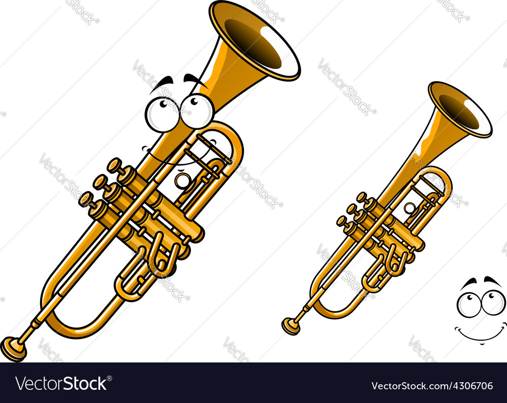 Shining brass trumpet cartoon character vector | Price: 1 Credit (USD $1)
