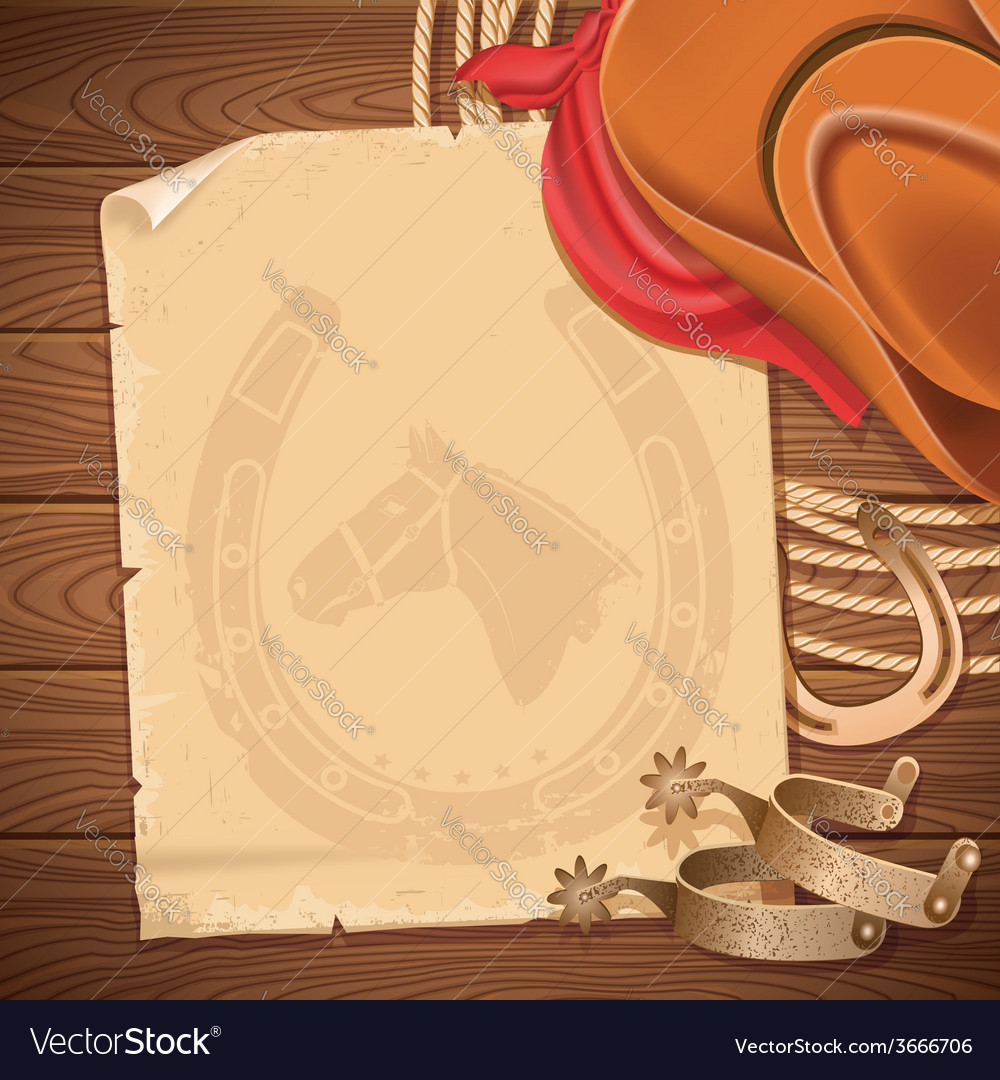 Wild west background with cowboy hat and american vector