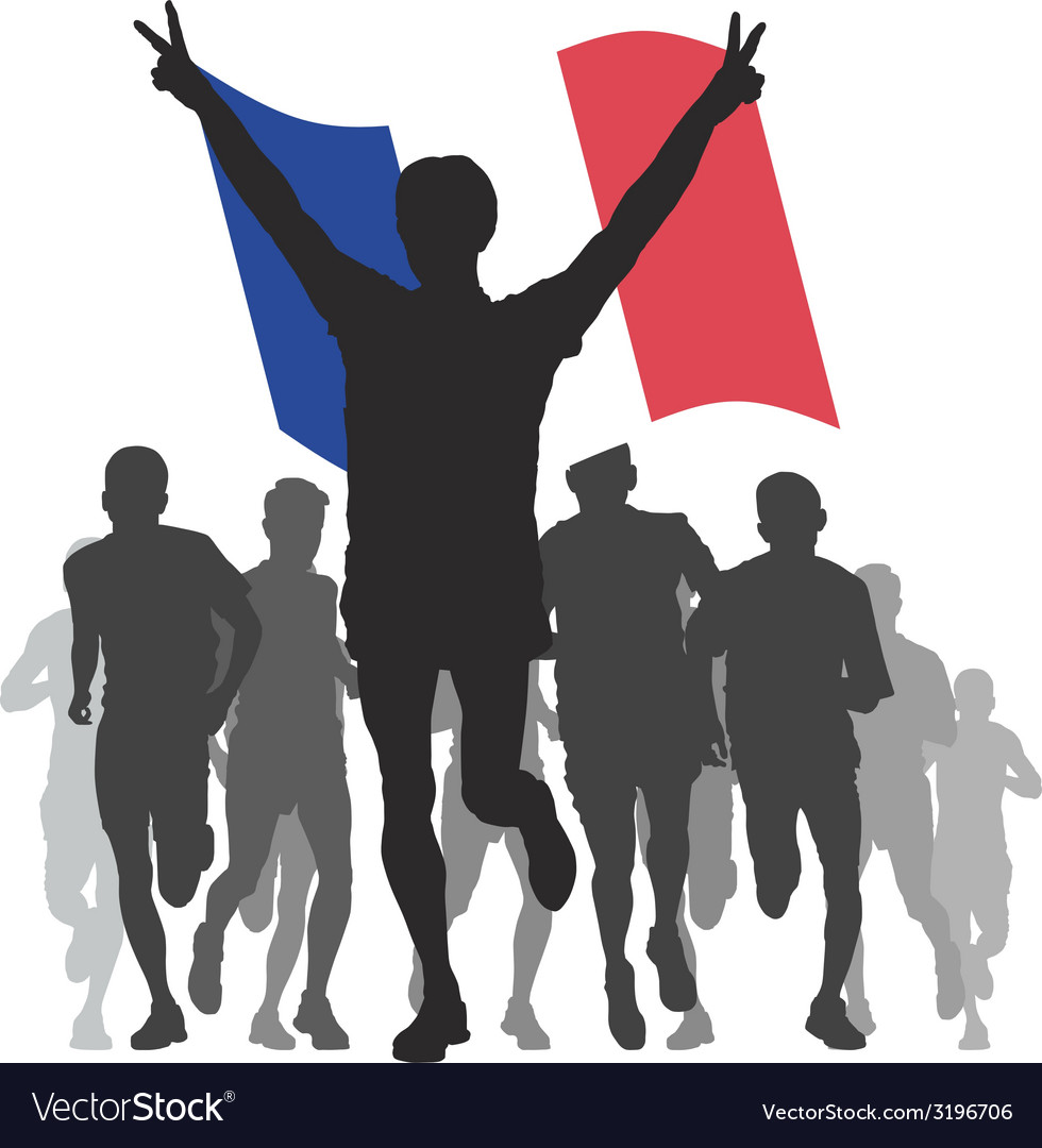 Winner with the france flag at the finish vector | Price: 1 Credit (USD $1)