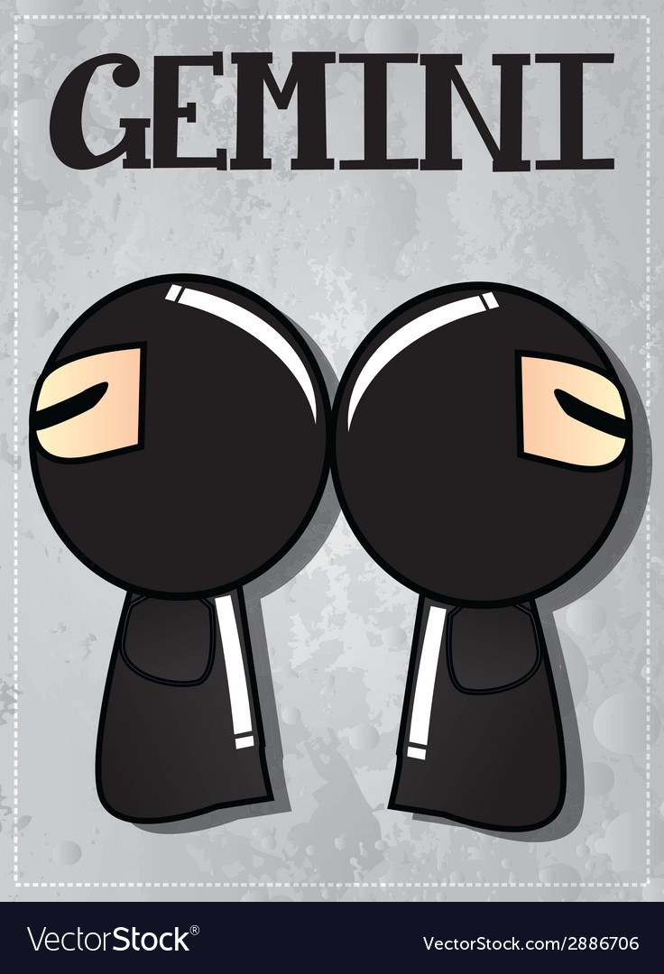 Zodiac sign gemini with cute black ninja character vector | Price: 1 Credit (USD $1)