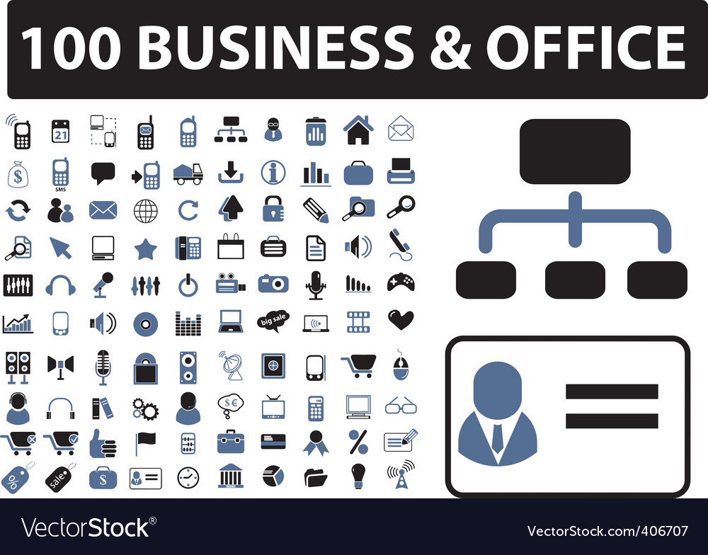 100 business  office signs vector | Price: 1 Credit (USD $1)