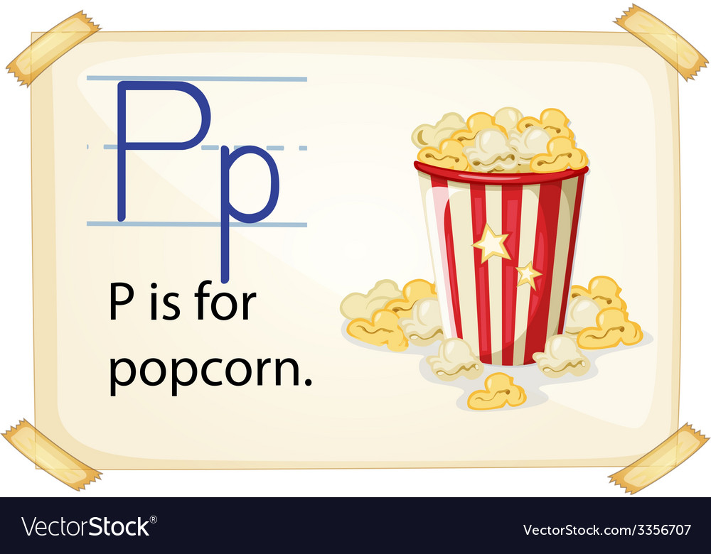 A letter p for popcorn vector | Price: 3 Credit (USD $3)