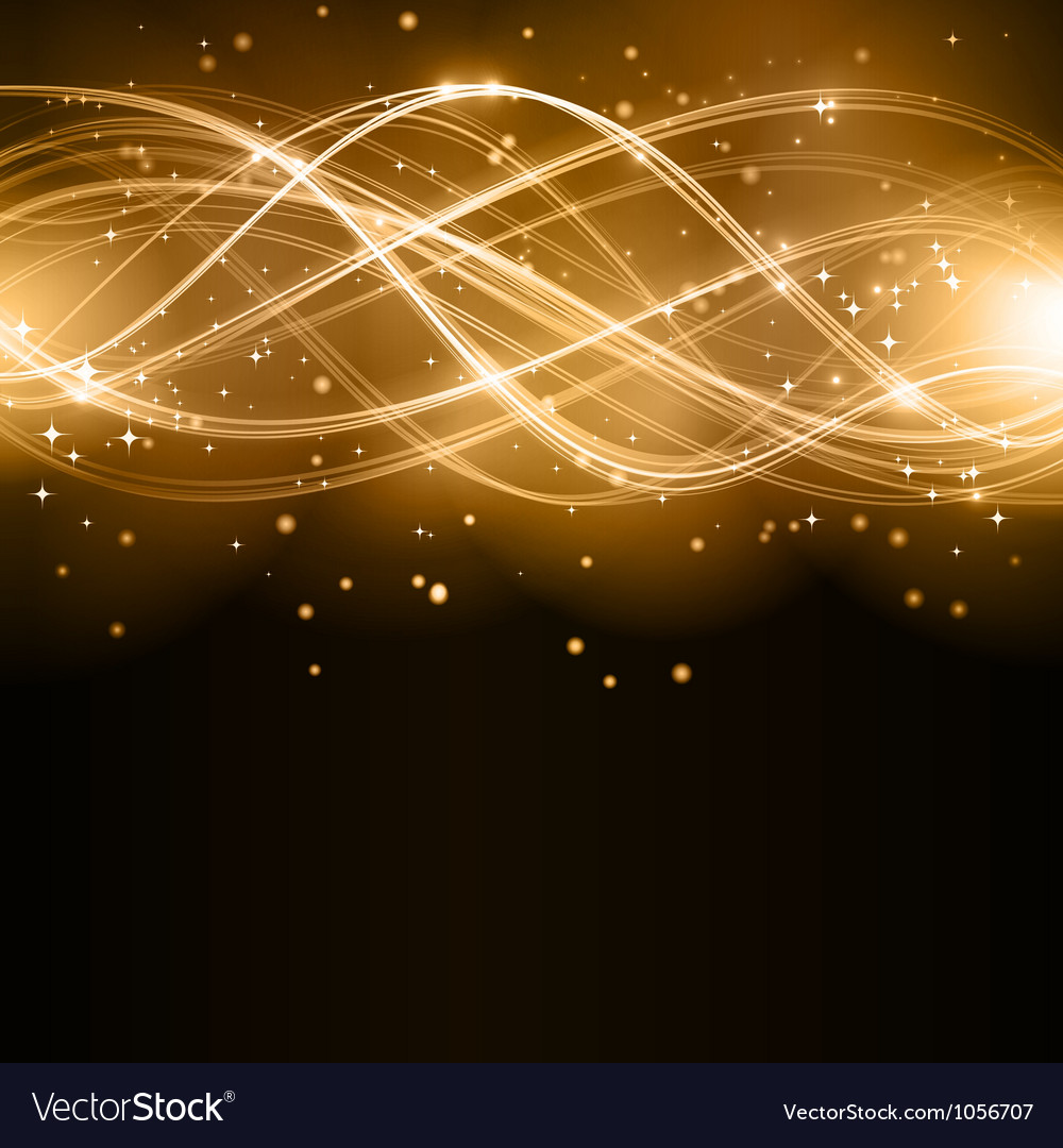 Abstract golden wave pattern with stars vector | Price: 1 Credit (USD $1)