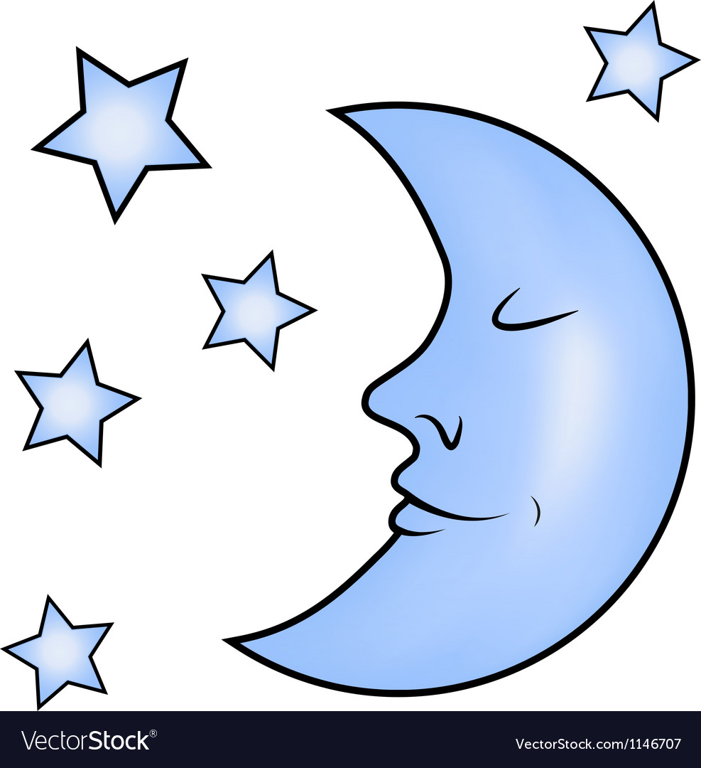Blue moon and stars vector | Price: 1 Credit (USD $1)