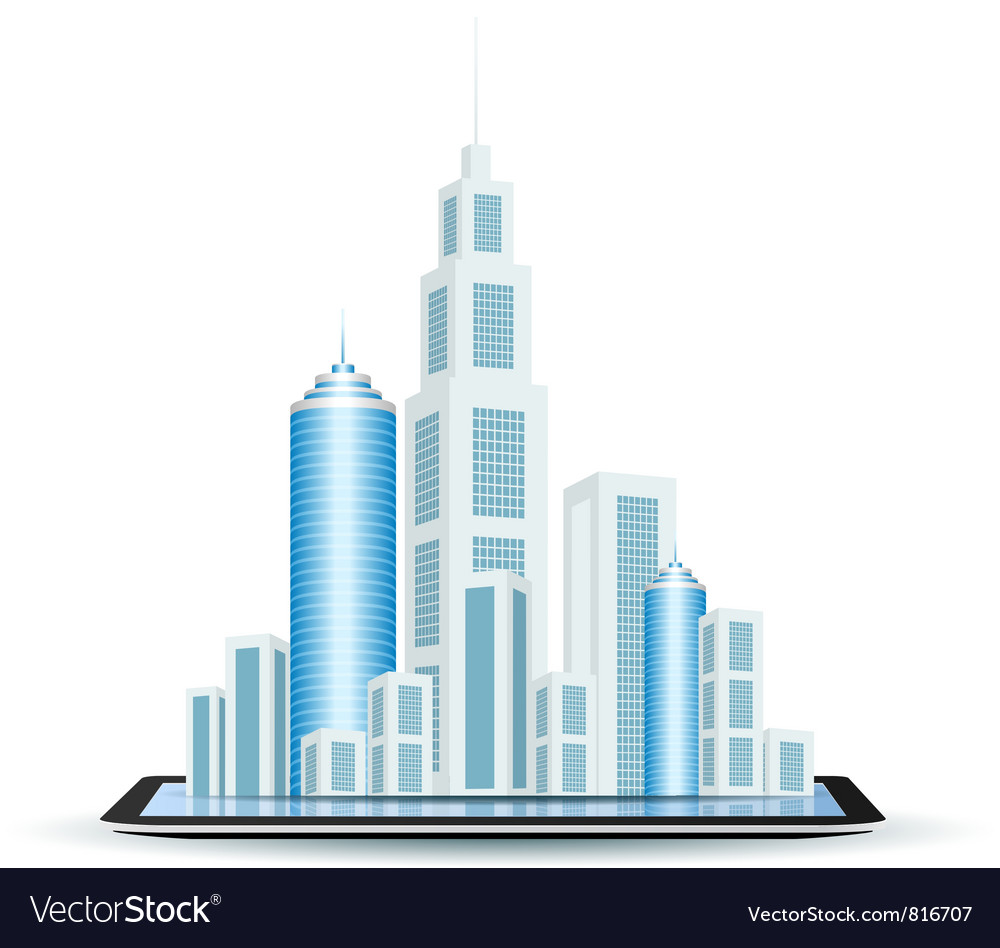 Business city on tablet computer vector | Price: 3 Credit (USD $3)