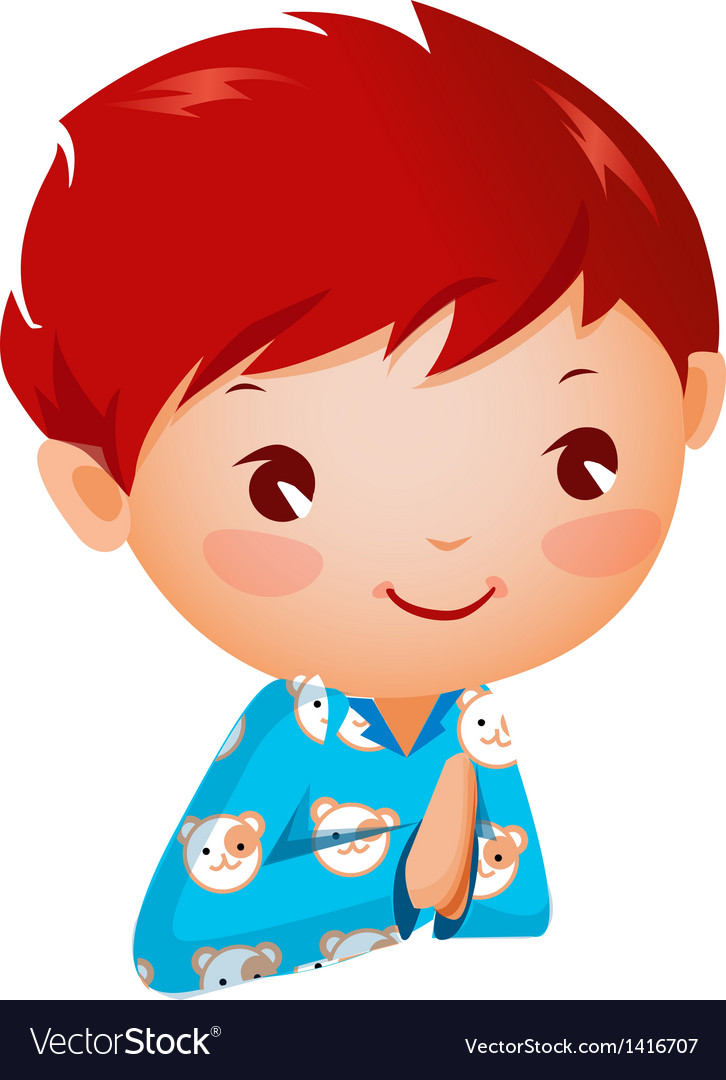 Close-up of boy praying vector | Price: 3 Credit (USD $3)