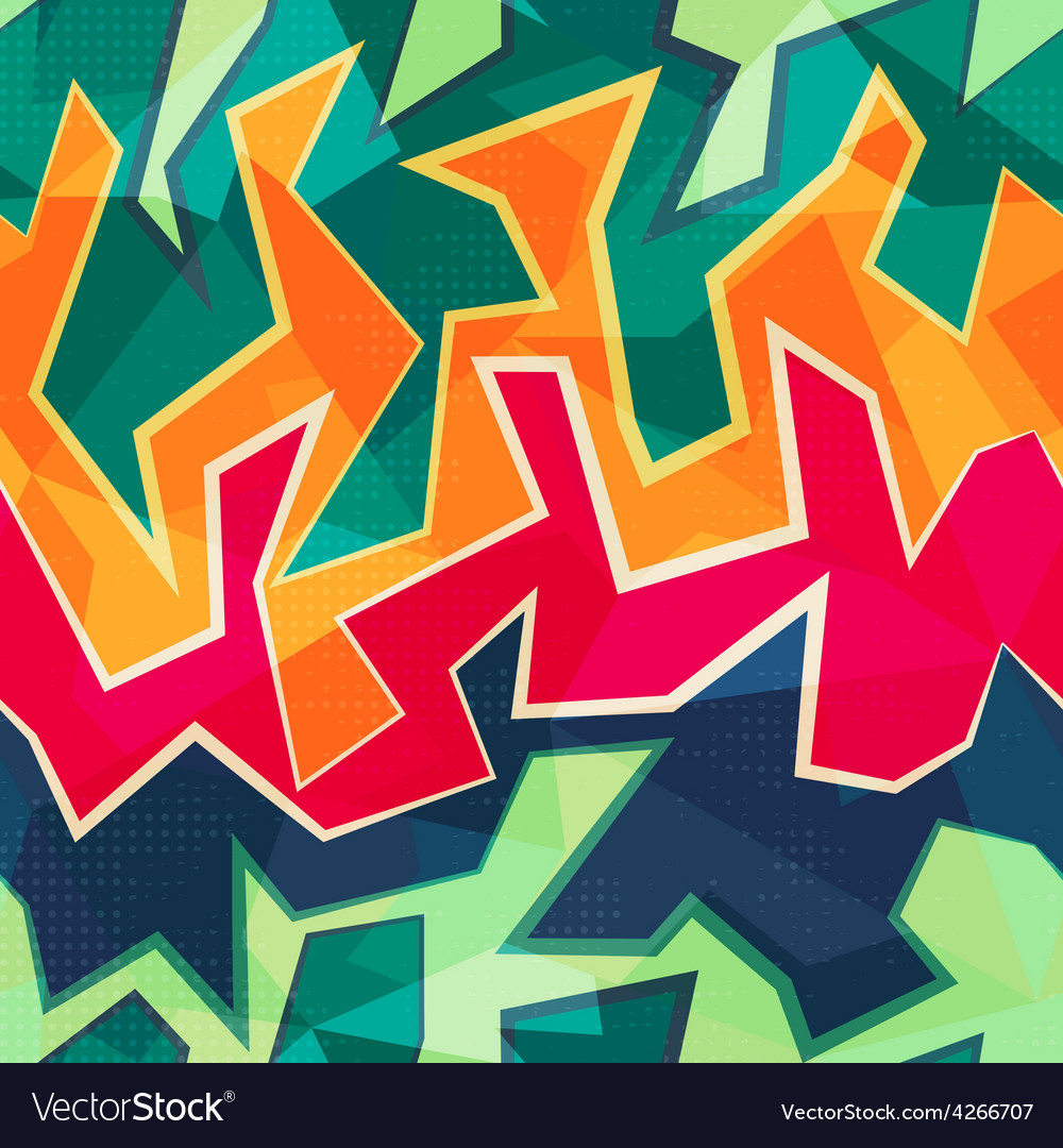 Colored graffiti seamless pattern vector