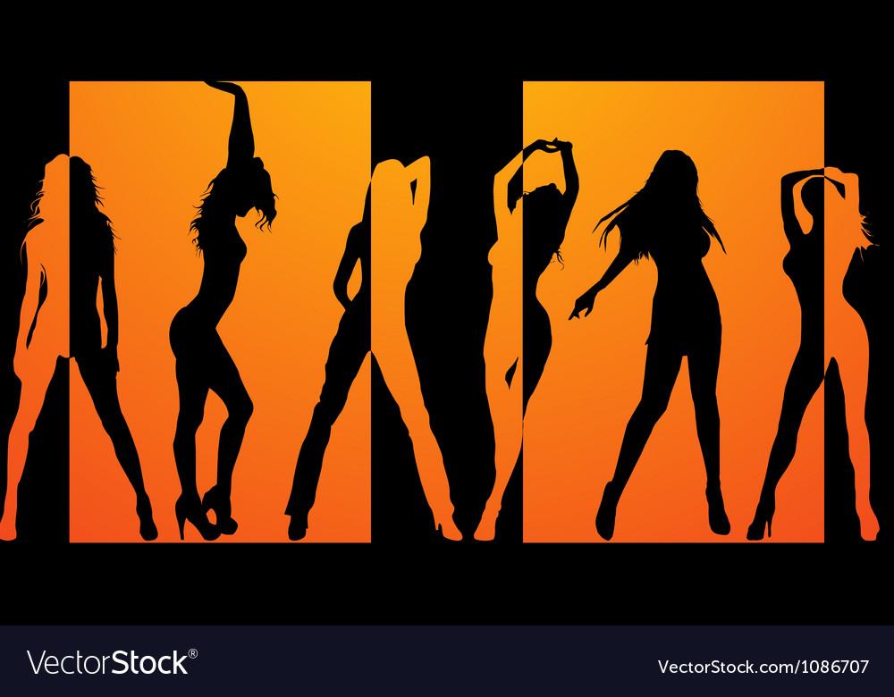 Dancing girls backround vector | Price: 1 Credit (USD $1)