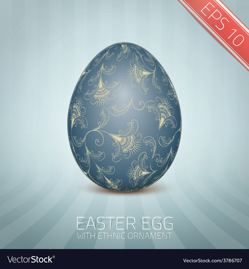 The easter egg with a floral pattern ornament vector | Price: 1 Credit (USD $1)