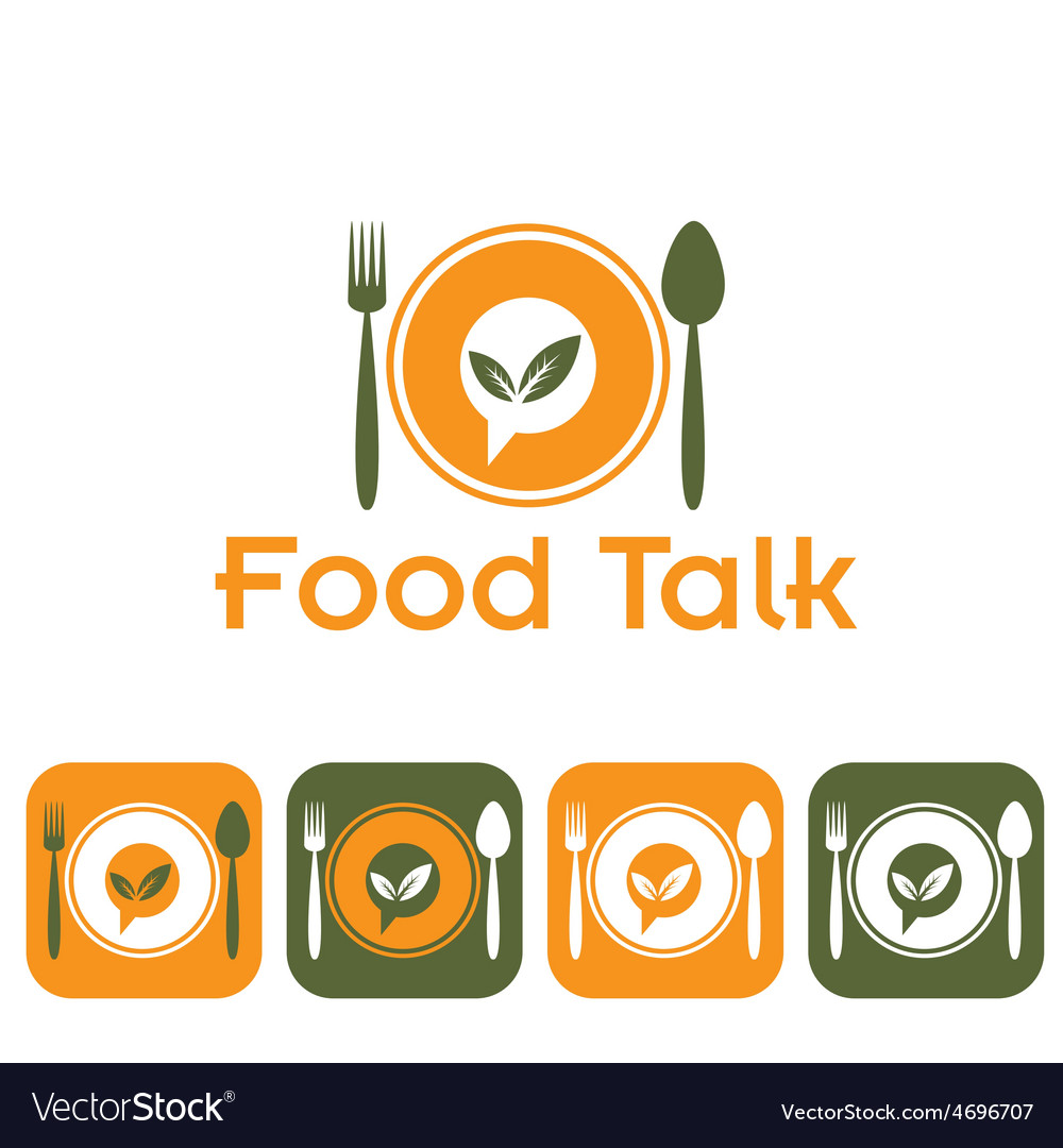 Food talk and icon set vector | Price: 1 Credit (USD $1)