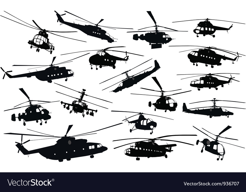 Helicopter silhouettes vector | Price: 1 Credit (USD $1)