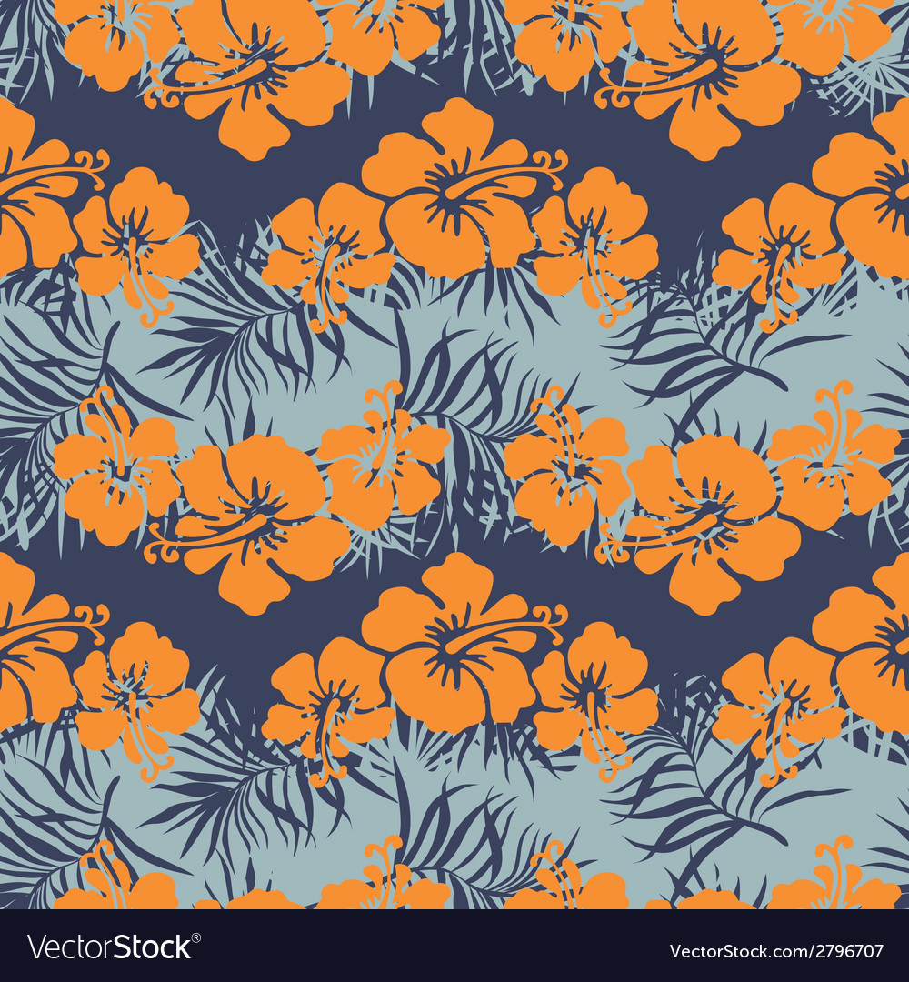 Hibiscus flowers seamless pattern vector | Price: 1 Credit (USD $1)