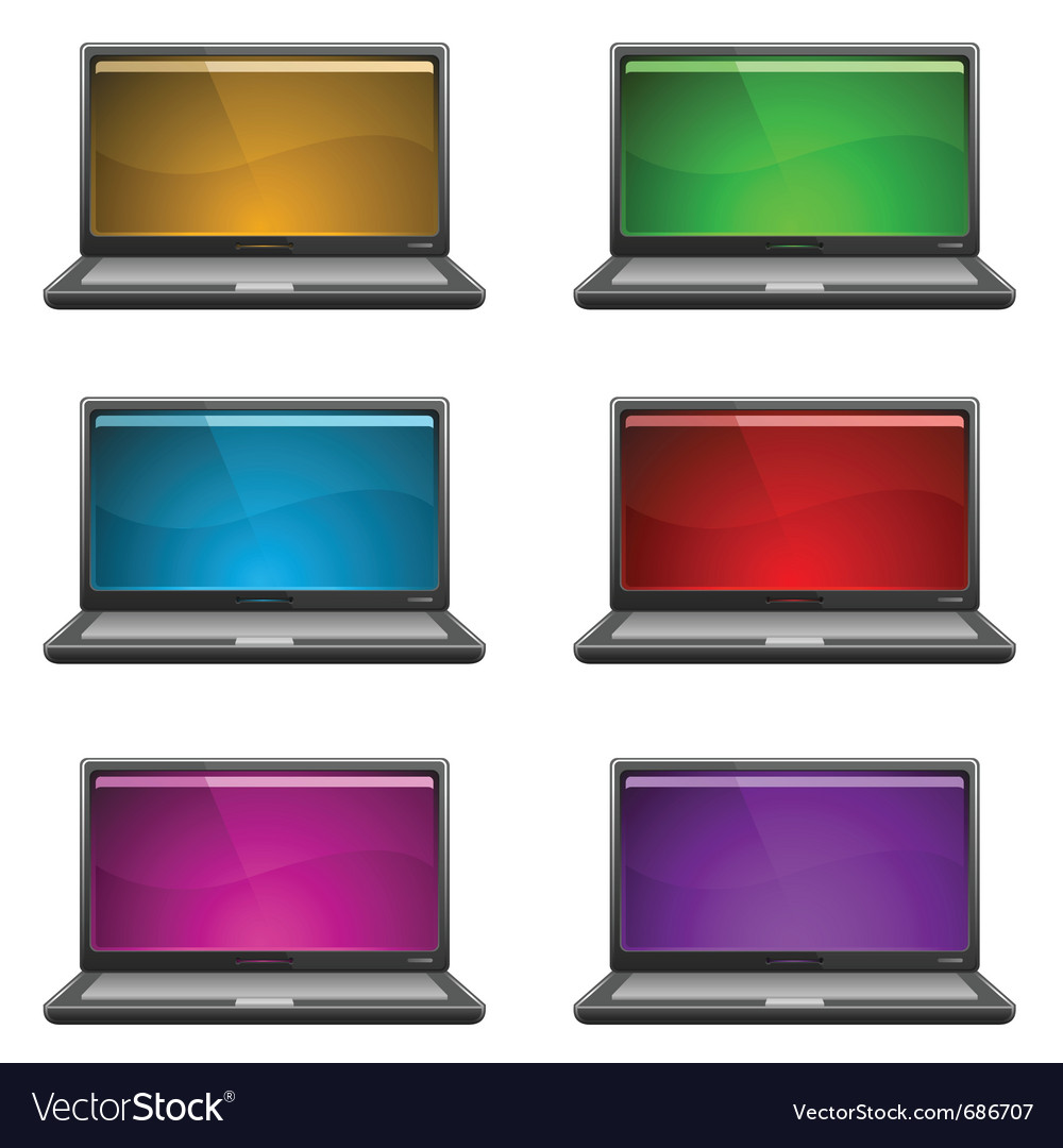 Laptops 6 different screen colors vector | Price: 1 Credit (USD $1)