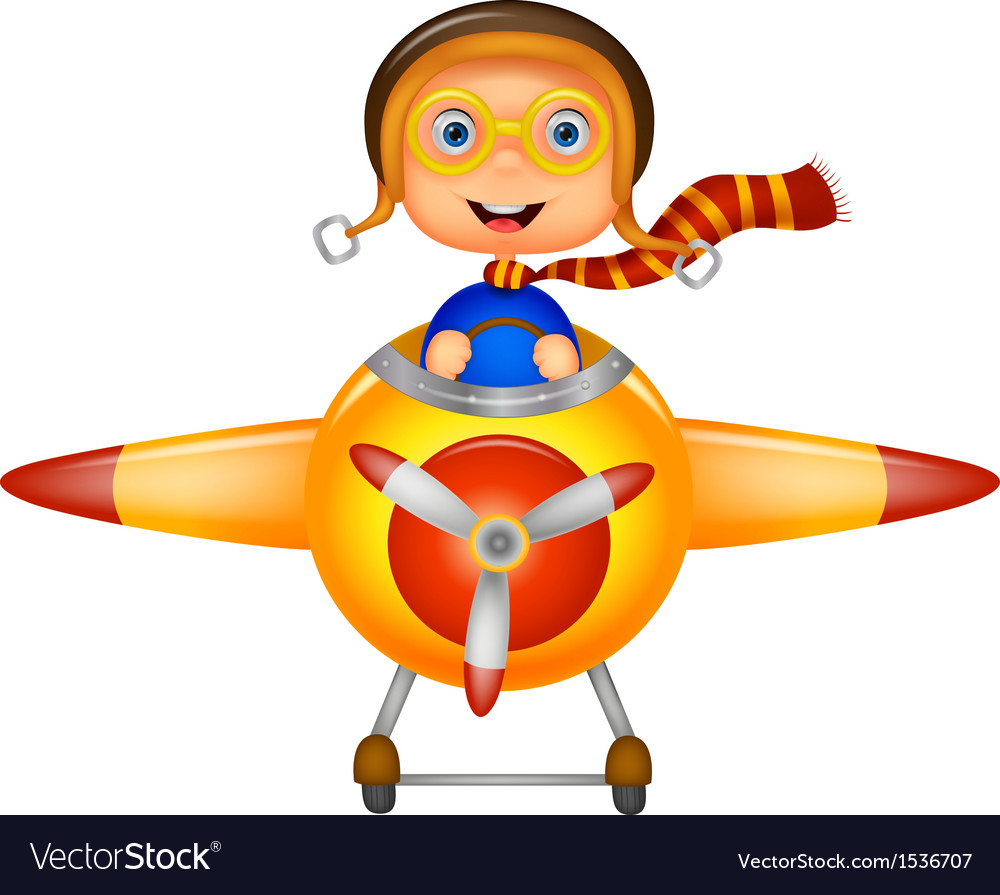 Little boy cartoon operating a plane vector | Price: 3 Credit (USD $3)