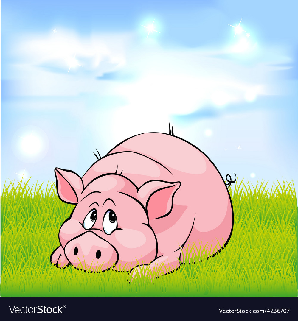 Pig cartoon laying on green grass - vector | Price: 1 Credit (USD $1)