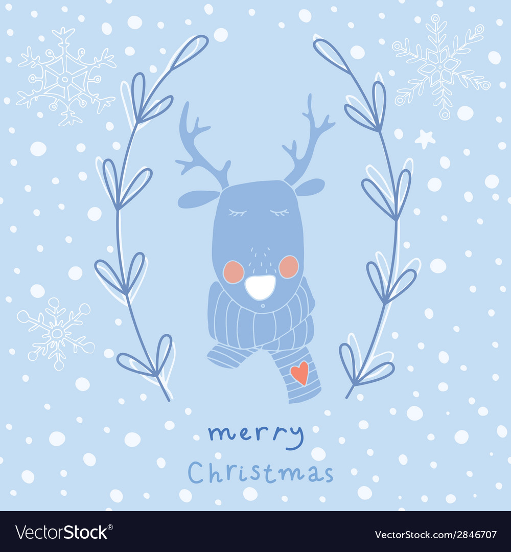 Reindeer christmas greeting card vector | Price: 1 Credit (USD $1)