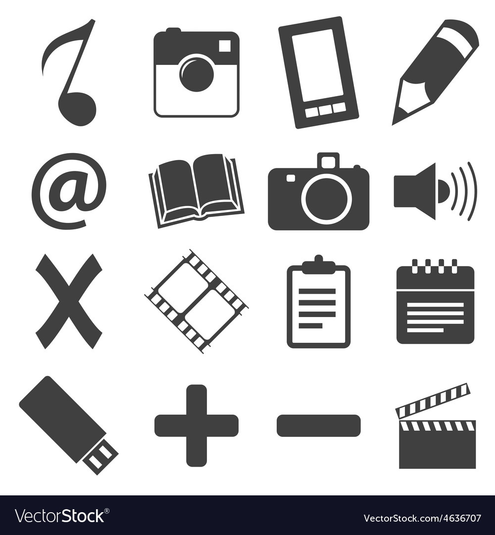 Simple black icon set 6 vector | Price: 1 Credit (USD $1)