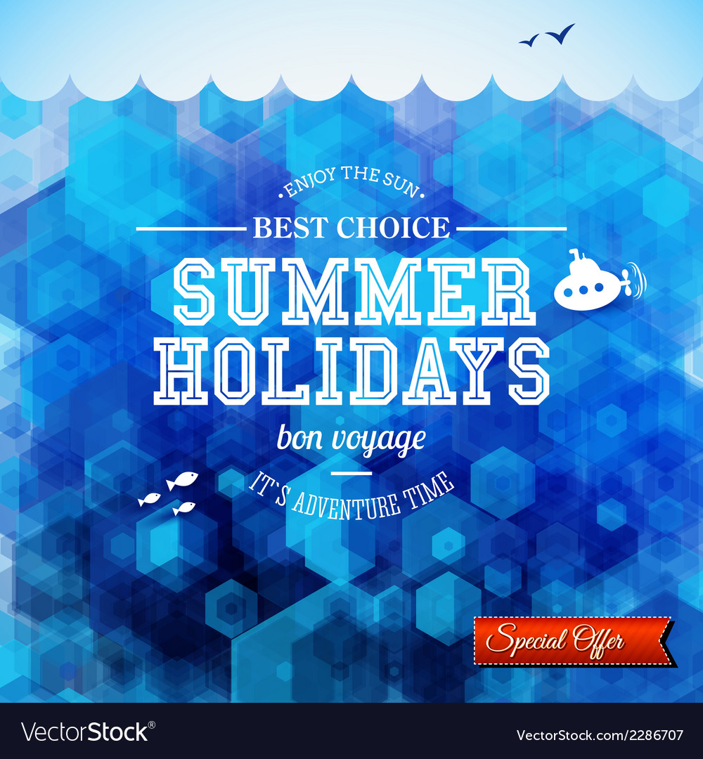 Summer design poster for summer holidays hexagon vector | Price: 1 Credit (USD $1)