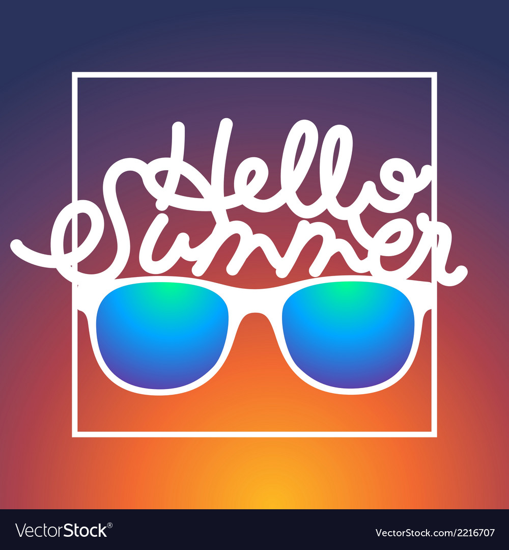 Summertime rbackground with sunglasses and text vector | Price: 1 Credit (USD $1)
