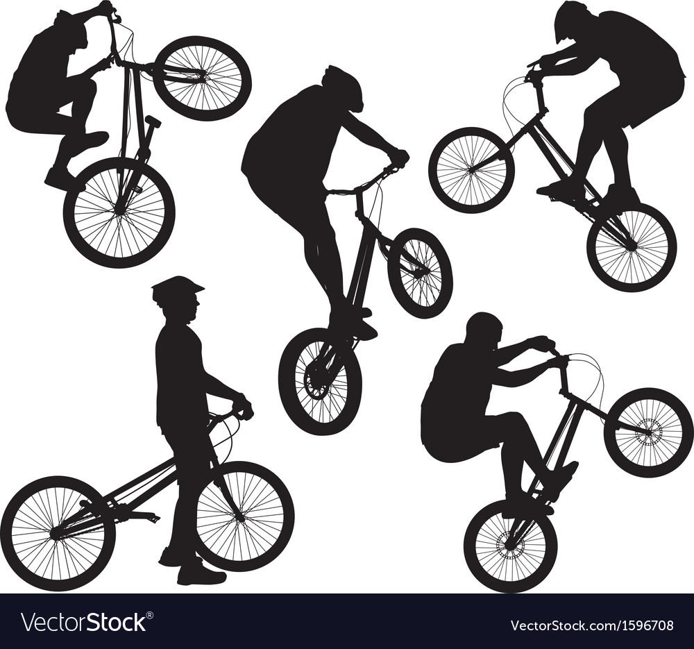 Biker silhouettes set vector | Price: 1 Credit (USD $1)