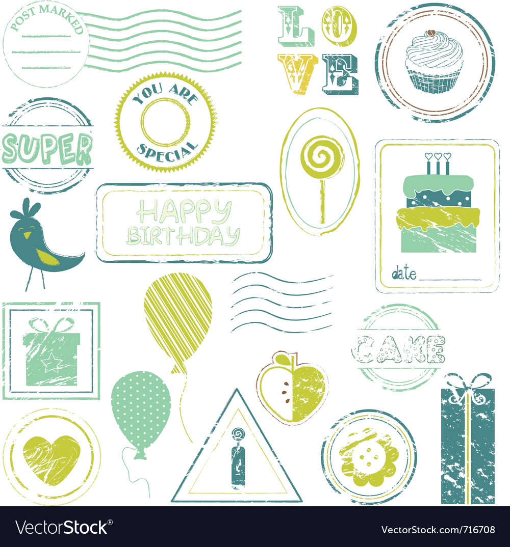 Birthday stamps vector | Price: 1 Credit (USD $1)