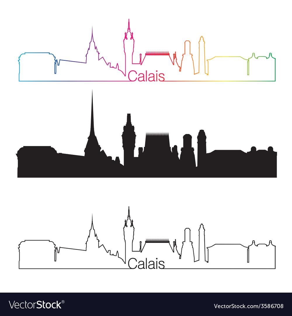 Calais skyline linear style with rainbow vector | Price: 1 Credit (USD $1)