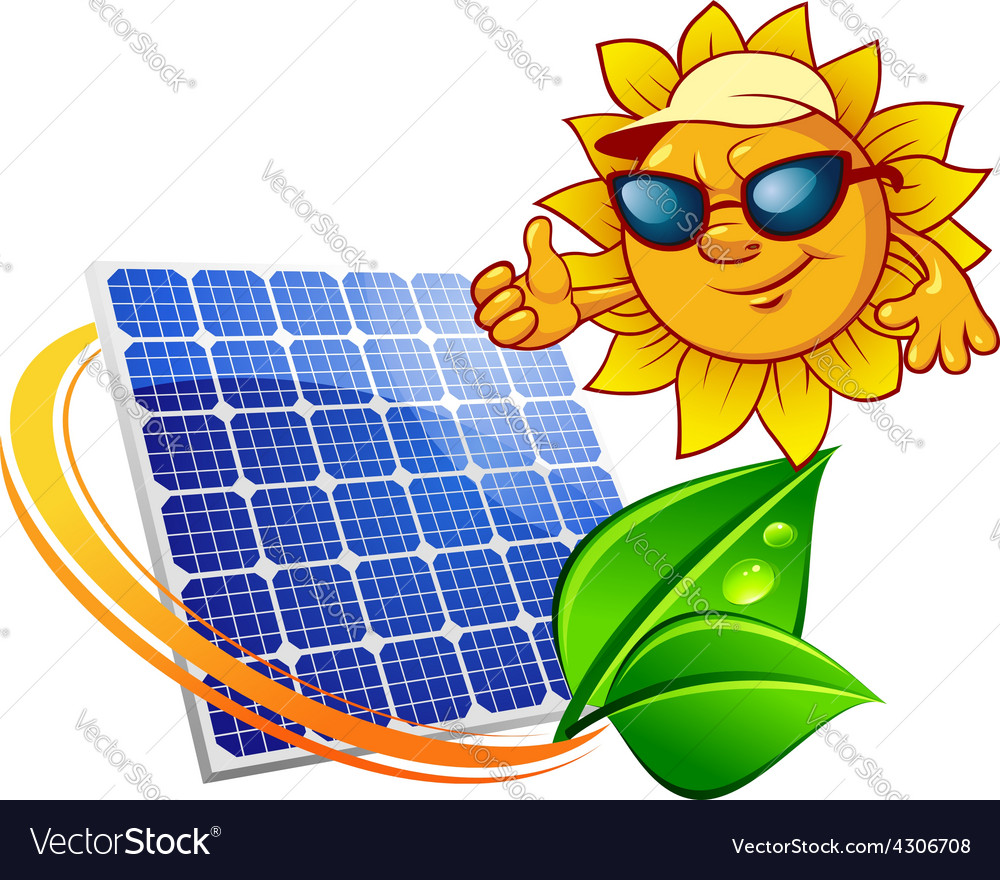 Cartoon sun in front of solar panel vector | Price: 1 Credit (USD $1)