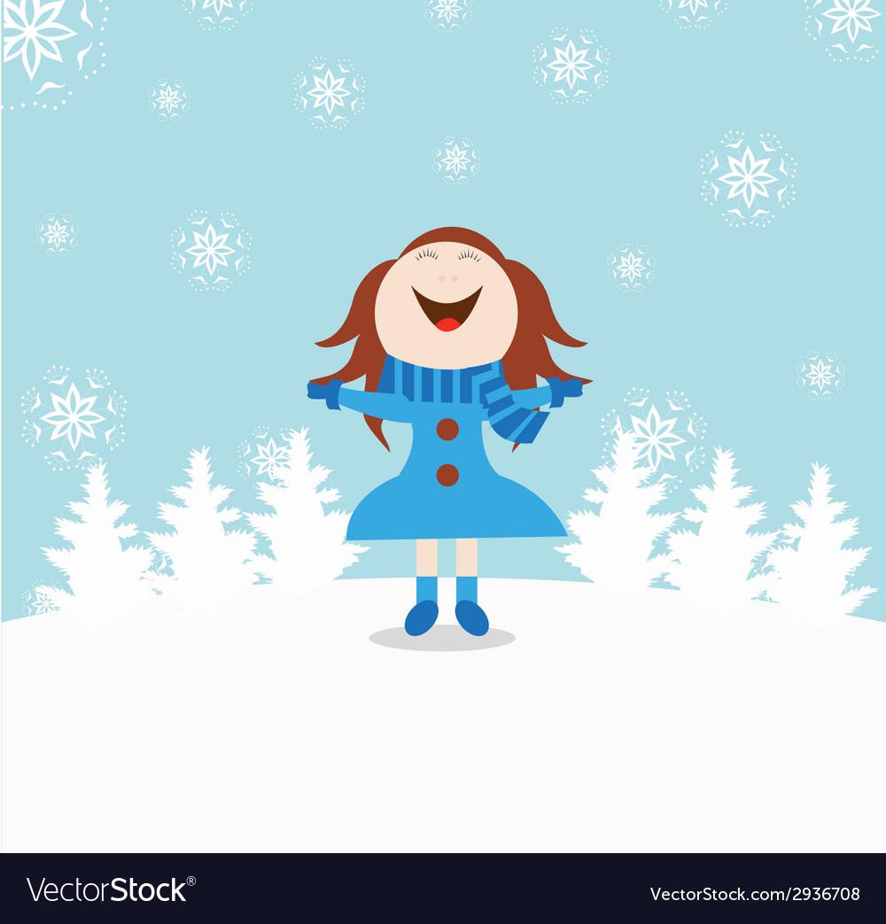 Chrismas snow child vector | Price: 1 Credit (USD $1)