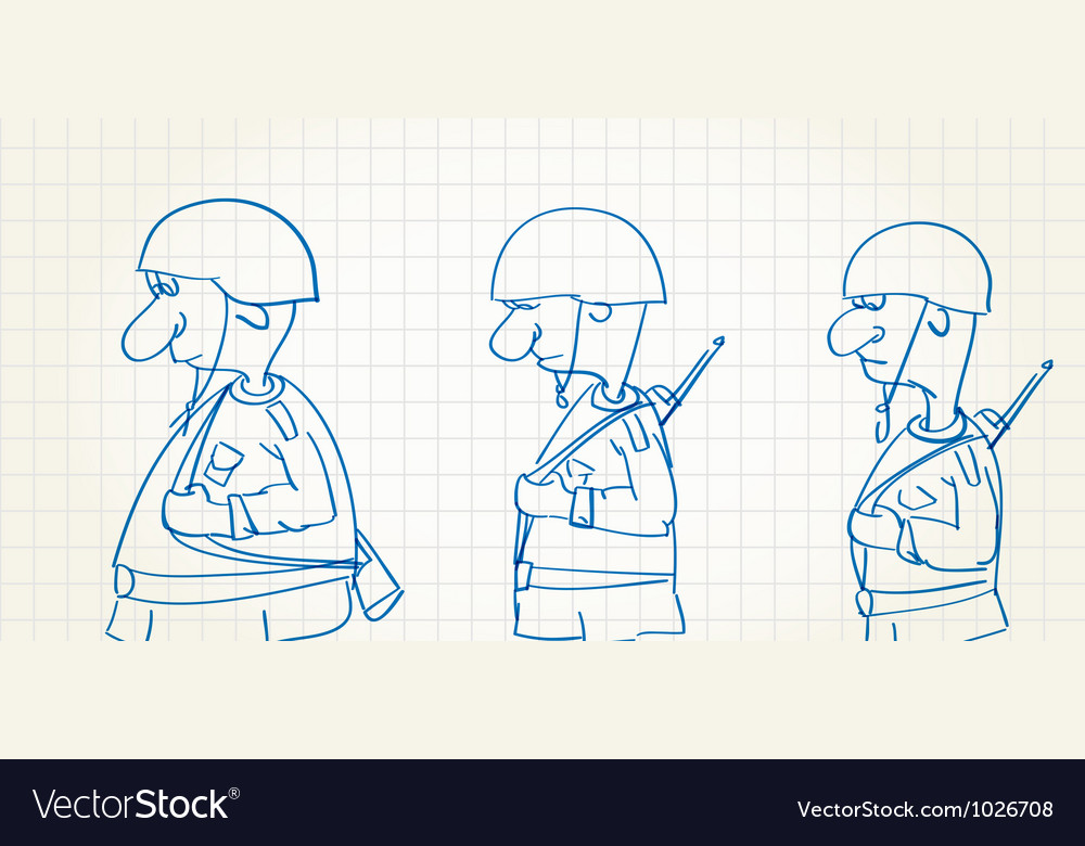 Comic picture of walking soldiers vector | Price: 1 Credit (USD $1)