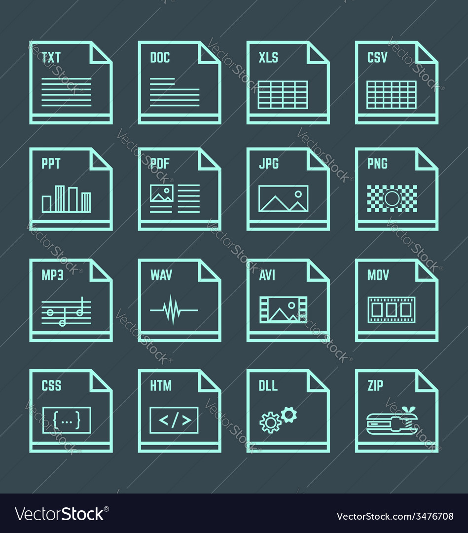 File formats minimal outline design icons set vector | Price: 1 Credit (USD $1)