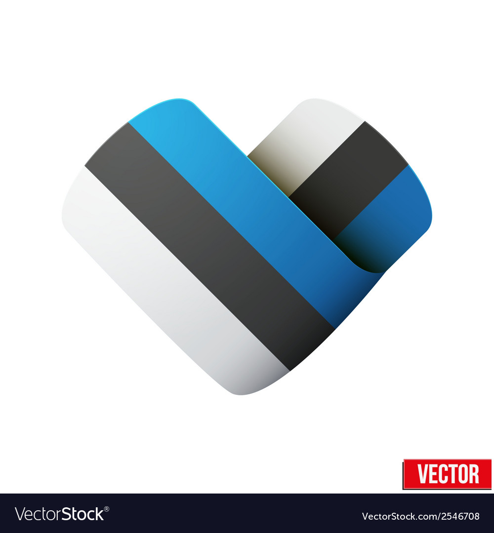 Flag icon in the form of heart i love estonia vector | Price: 1 Credit (USD $1)