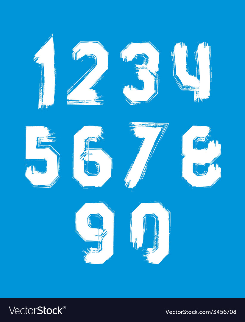 Freak white graffiti digits set of unusual numbers vector | Price: 1 Credit (USD $1)