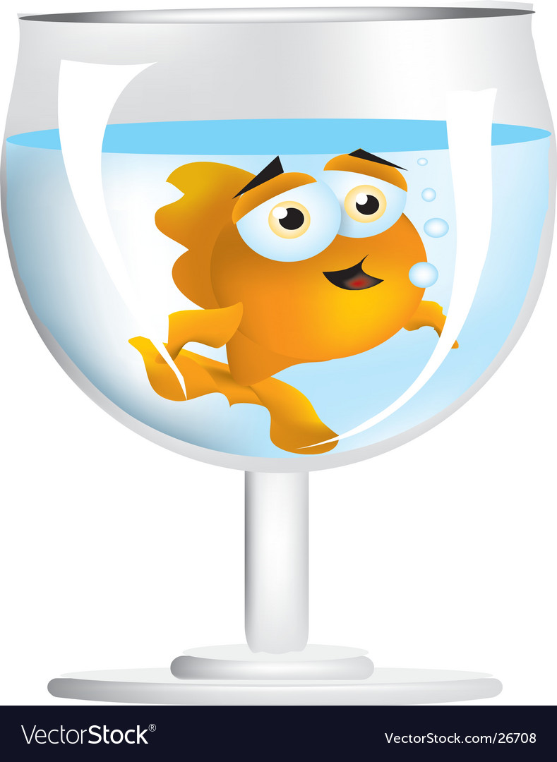 Goldfish in wine glass vector | Price:  Credit (USD $)