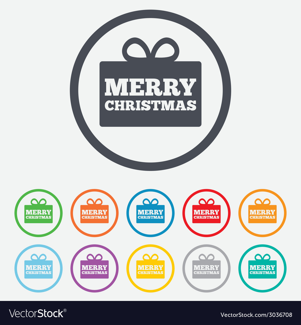 Merry christmas gift sign icon present symbol vector | Price: 1 Credit (USD $1)