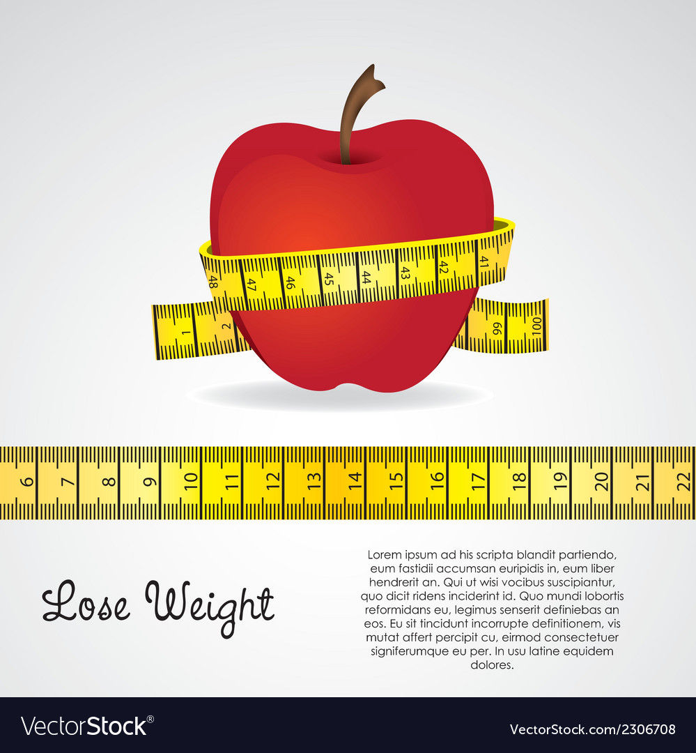 Meter around the apple over gray background vector | Price: 1 Credit (USD $1)