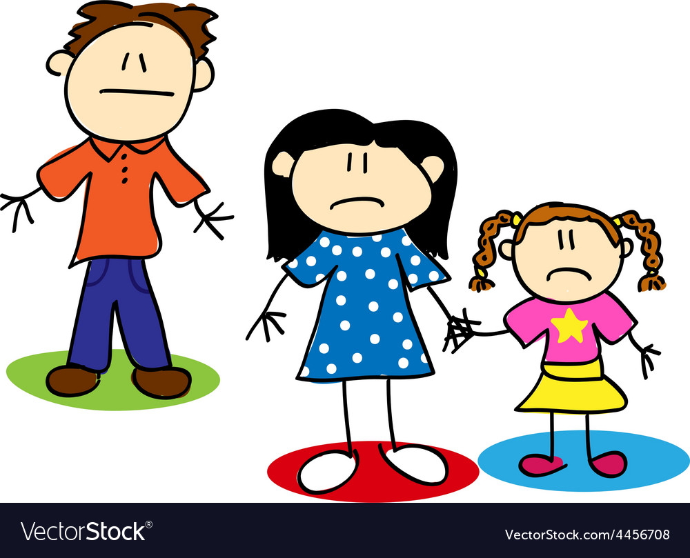 Stick figure unhappy family vector | Price: 1 Credit (USD $1)
