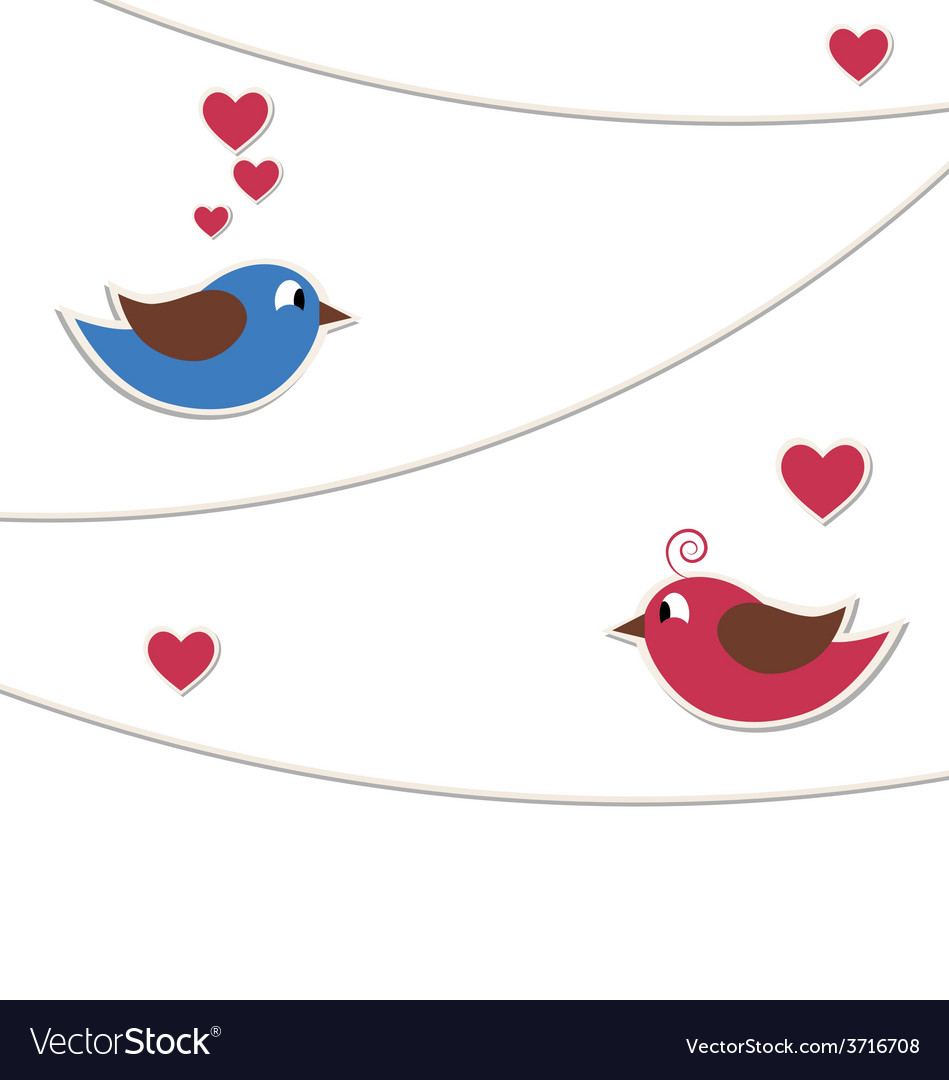 Two lovely birds with strings of buntings isolated vector | Price: 1 Credit (USD $1)