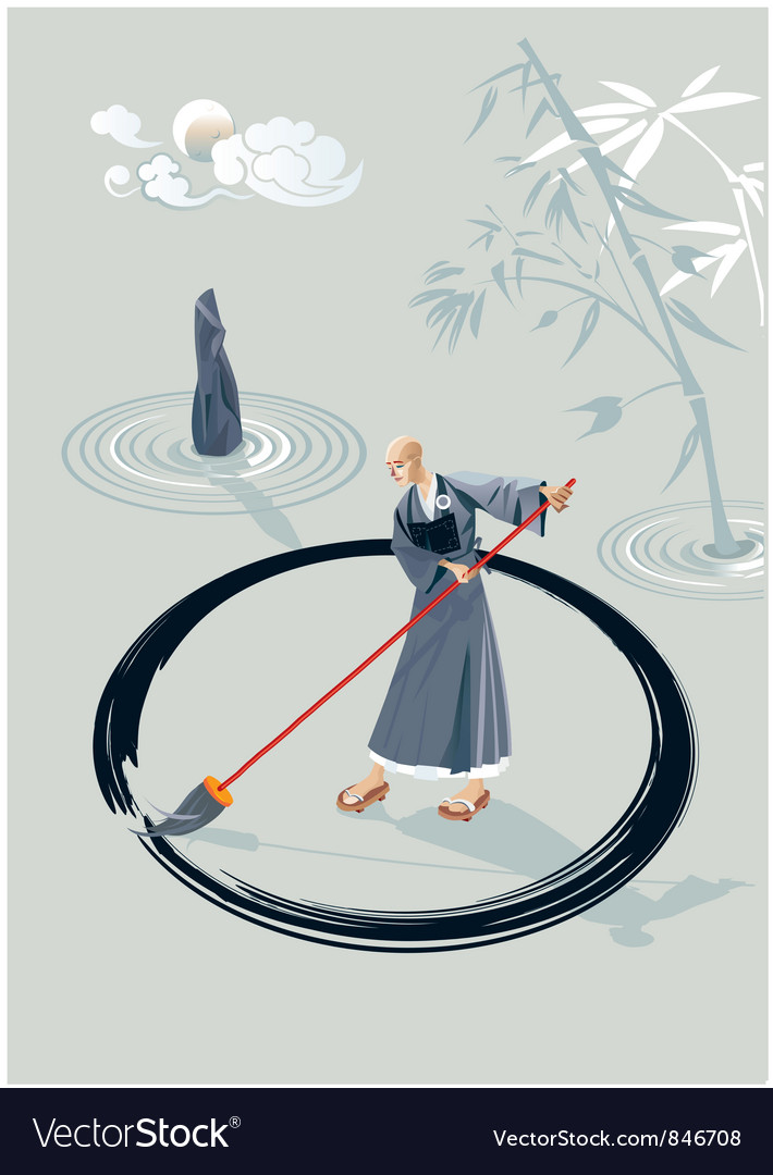 Zen monk painting a circle vector | Price: 3 Credit (USD $3)